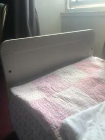 White toddler cot/ cot bed and mattress