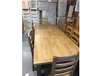 2.3m extending to 2.7m oak dining table