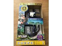 U.S. Divers GoPro Ready Adult S/M Snorkeling Set - Snorkel Mask Fins & Mesh Bag