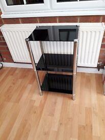 Black glass 2 tier display unit