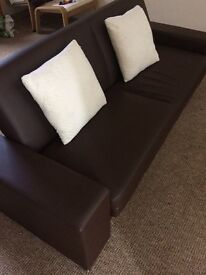 *MUST GO ASAP*Slim Brown Leather Effect Sofa Bed for sale