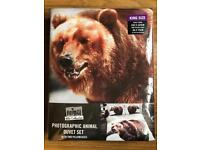 BRAND NEW ANIMAL WILD COLLECTION - PHOTOGRAPHIC ANIMAL KING SIZE DUVET SET - BEAR