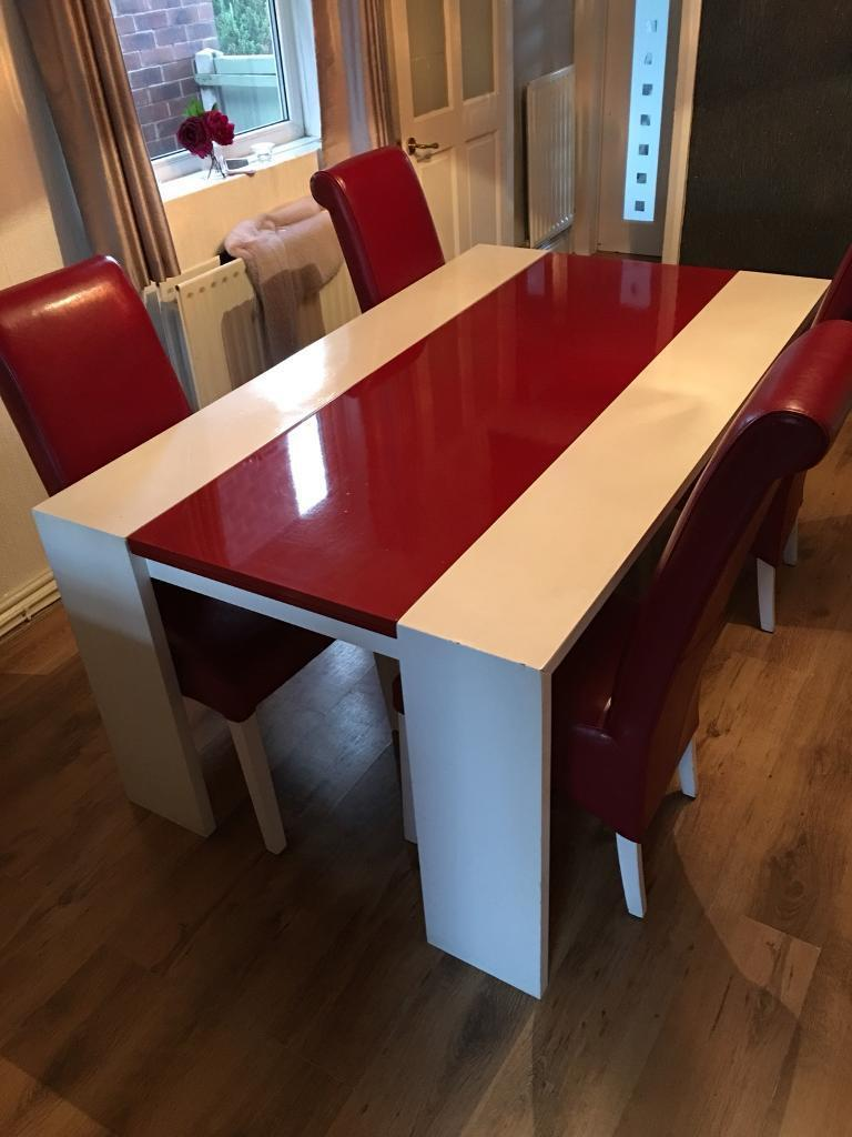 Red And White Dining Table With 4 Chairs