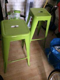 Green metal kitchen stools