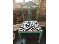 Upcycled Aqua and Zebra fur chair, vintage dining office chair