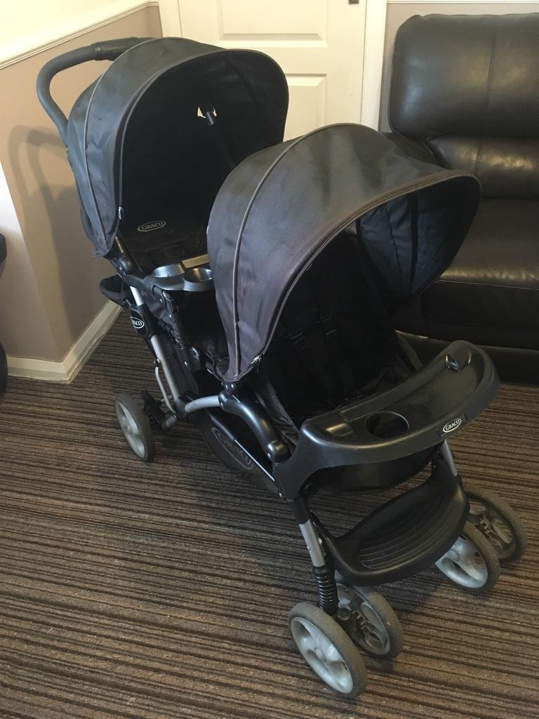 SOLD Graco Stadium Duo Double Pushchair/buggy with rain cover