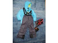 Child Age 5/6 ski salopettes, jacket, goggles and ski boots