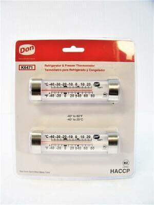 Refrigerator Freezer Horizontal Glass Tube Thermometer Don Co 2-pack K6471