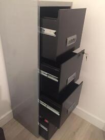Four drawer lockable black silver filing cabinet