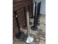 12 corded tensabarriers v good condition, black pole base and cord