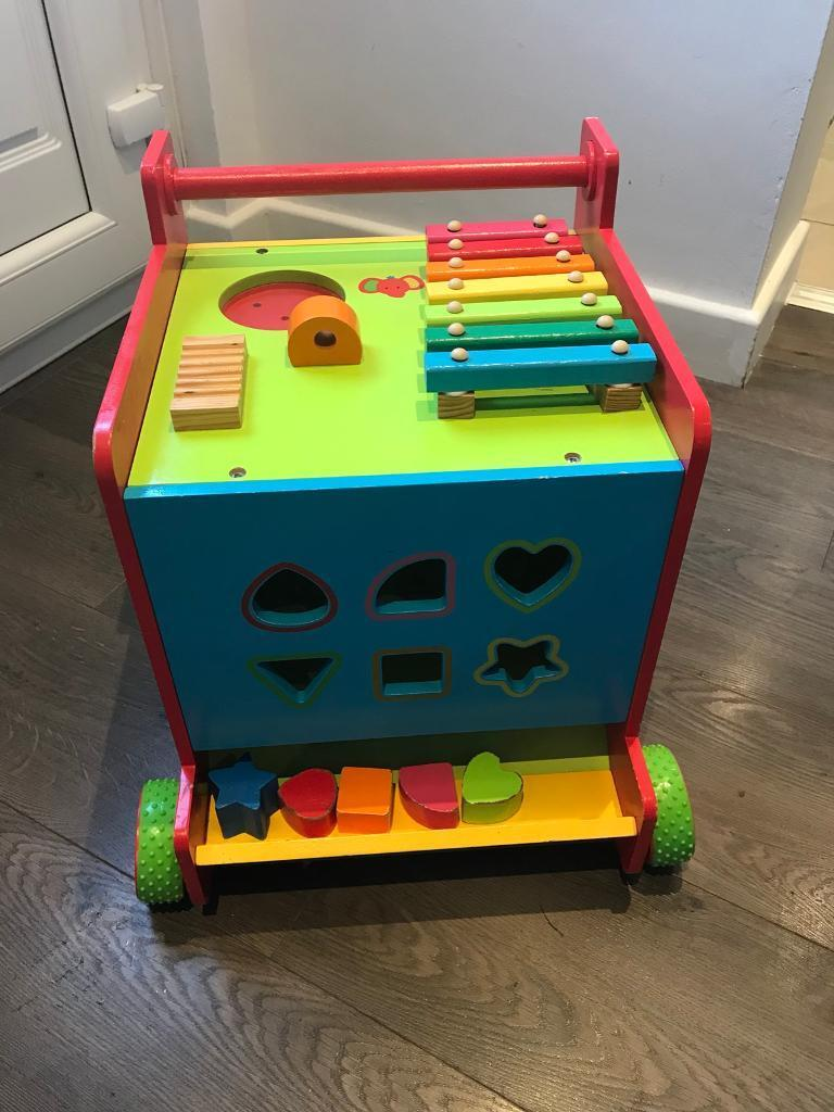 Early Learning centre wooden activity cube & walker
