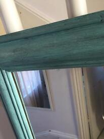 Large Solid old pine mirror painted teal and dark wax