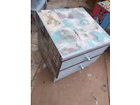 2 drawer small chest of drawers, Map design and matching small table