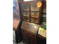 Oak bureau display cabinet cupboard storage writing desk