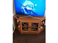 Teak tv unit with glass doors