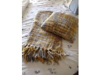 Grey/yellow knitted wool blanket and matching cushion