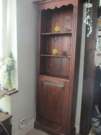Bookcase with cujpboard - Dark stained pine wood