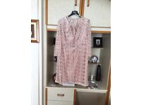 Ladies dress with lovely matching coat in blush colour as new size 14