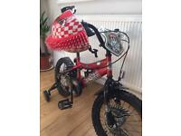 16inch boys red bike, excellent condition with helmet and stabilisers