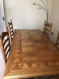 Table ,4 chairs & side board
