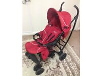 Pushchair pram red unisex foldable