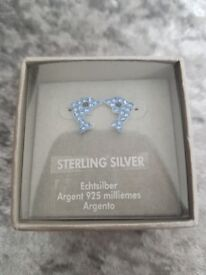 Stunning blue sterling silver dolphin earings