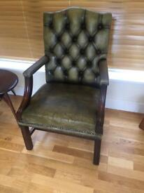 Vintage heavy leather chesterfield green library / office arm chair.