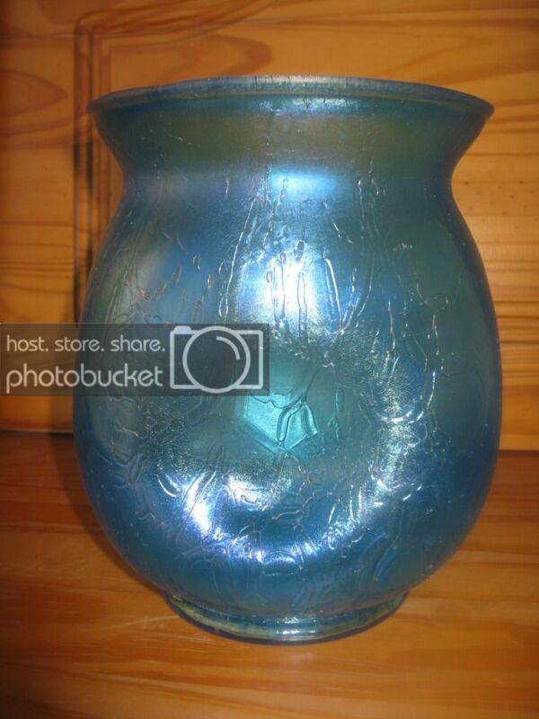 Rare Antique KRALIK Bohemian Art Glass Vase Pinched Blue Croc Crackle Iridescent