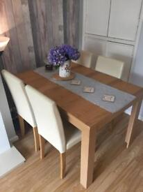 Extended Oak Table with 4 chairs