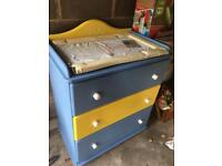 Solid wood baby changing unit - chest of draws