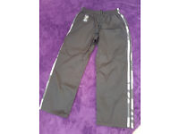 Martial Arts Full Contact 100% Cotton Black With 2 Camo Stripes Trousers - size 160cm
