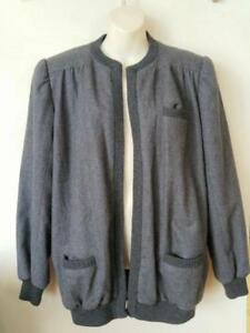 German Quiesser Wool Jacket Womens L 14 16 Vintage Gray 100% virgin wool Retro Germany Retro 42 Quality Blazer Oakville