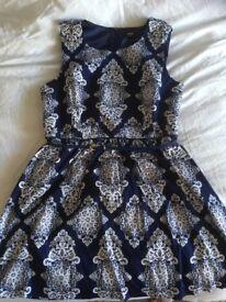 Oasis Woman's Navy Patterned Dress Size 16
