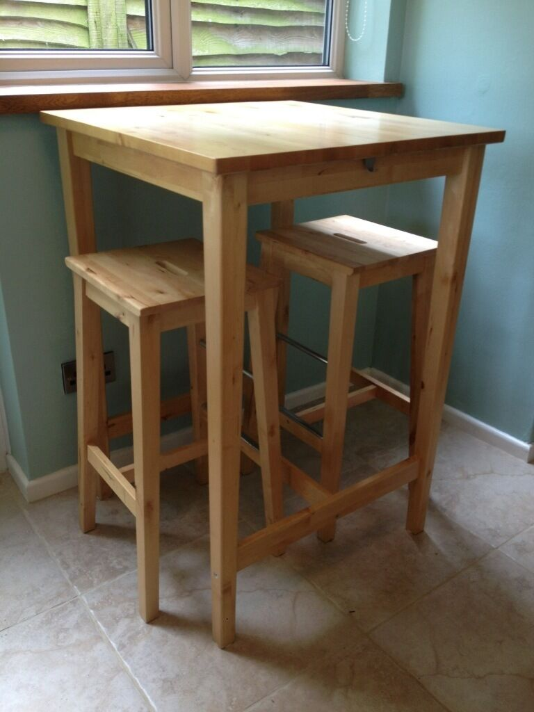 Ikea bar table and two matching stools in solid birch wood in newmarket su - Table haute rangement ...