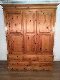 Solid Pine Double Wardrobe with free delivery within 10 miles