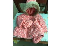 Mothercare fleece lined baby coat with mittens peach 3-6 months
