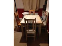 FREE: solid wood table and four chairs