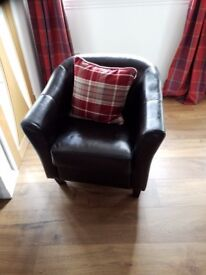 Nice looking leather look brown armchair in excellent condition £25