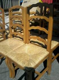 Six meican pine and wicker high back chairs