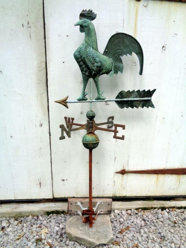 Vintage Rooster Copper Weathervane w/ Patina