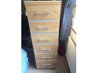 High quality Alston's furniture. Six drawer chest of drawers. Beech coloured.Excellent condition.