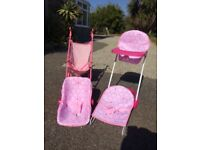 Dolls pushchair high chair car seat and bouncer