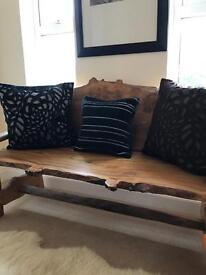 3 designer cushions Bedeck - laser felt cut - black & brown