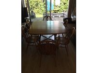 Ercol extending table & prince of Wales 4 chairs + 2 carvers