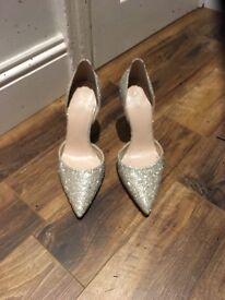 Beautiful silver diamanté heels size 8