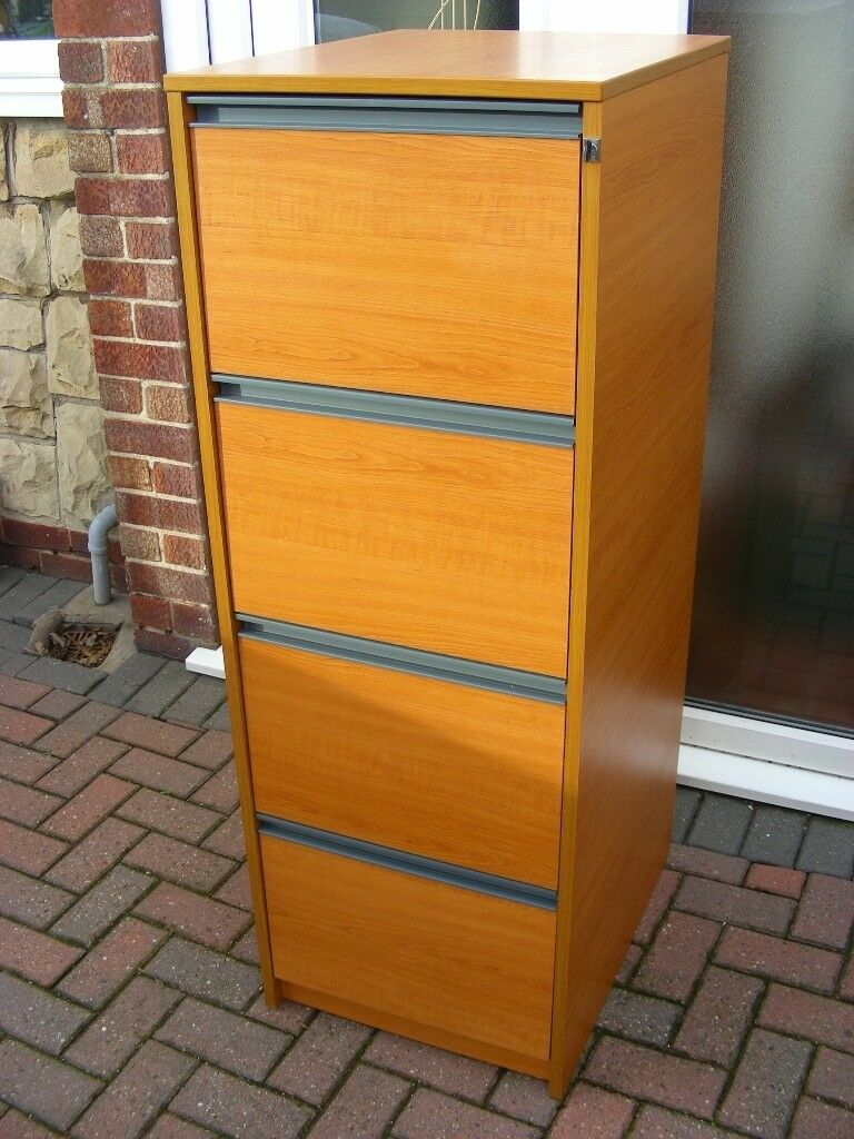 4 Drawer 3 Lockable Filing Cabinet Teak Wooden Wood Effect Suspension File Draw
