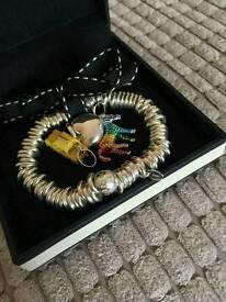 Links of London Silver Bracelet/ 3 silver charms