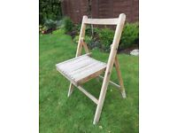 Wooden slatted vintage original chair, garden chair, allotment seat, beach hut seat, folding chair