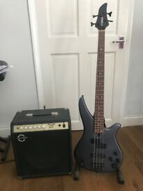 Yamaha bass guitar and Amp