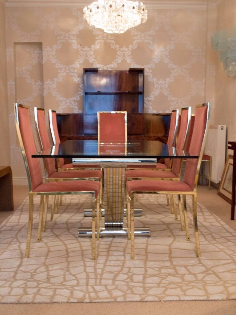 ITALIAN 1970s CHROME BRASS DINING TABLE 8 CHAIRS BY RENATO ZEVI